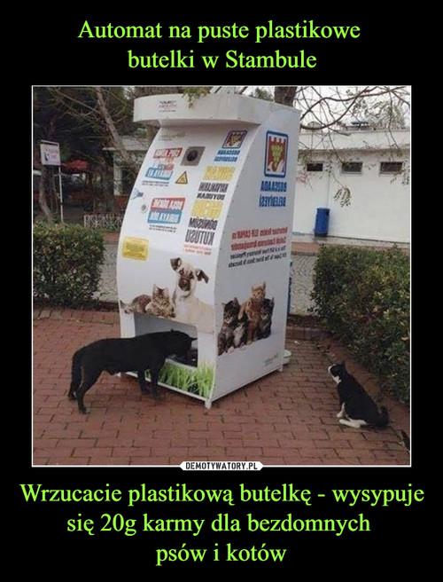 Automat na puste plastikowe  butelki w Stambule Wrzucacie plastikową butelkę - wysypuje się 20g karmy dla bezdomnych  psów i kotów