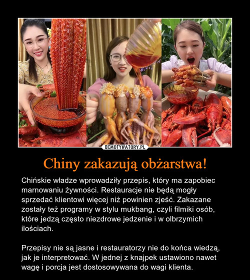 Chiny zakazują obżarstwa!