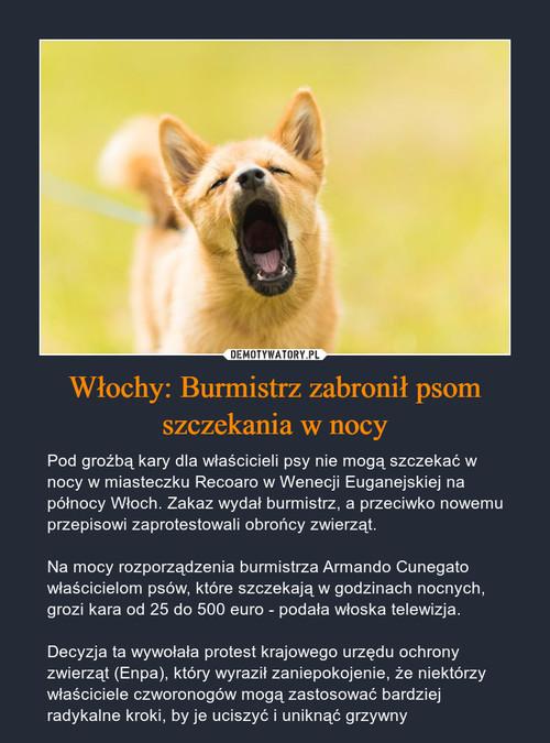 Włochy: Burmistrz zabronił psom szczekania w nocy
