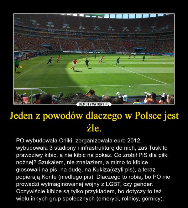 Jeden z powodów dlaczego w Polsce jest źle. – PO wybudowała Orliki, zorganizowała euro 2012, wybudowała 3 stadiony i infrastrukturę do nich, zaś Tusk to prawdziwy kibic, a nie kibic na pokaz. Co zrobił PiS dla piłki nożnej? Szukałem, nie znalazłem, a mimo to kibice głosowali na pis, na dudę, na Kukiza(czyli pis), a teraz popierają Konfe (niedługo pis). Dlaczego to robią, bo PO nie prowadzi wyimaginowanej wojny z LGBT, czy gender. Oczywiście kibice są tylko przykładem, bo dotyczy to też wielu innych grup społecznych (emeryci, rolnicy, górnicy).