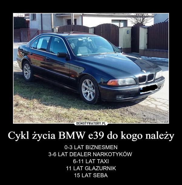 Cykl życia BMW e39 do kogo należy – 0-3 LAT BIZNESMEN3-6 LAT DEALER NARKOTYKÓW 6-11 LAT TAXI11 LAT GLAZURNIK15 LAT SEBA