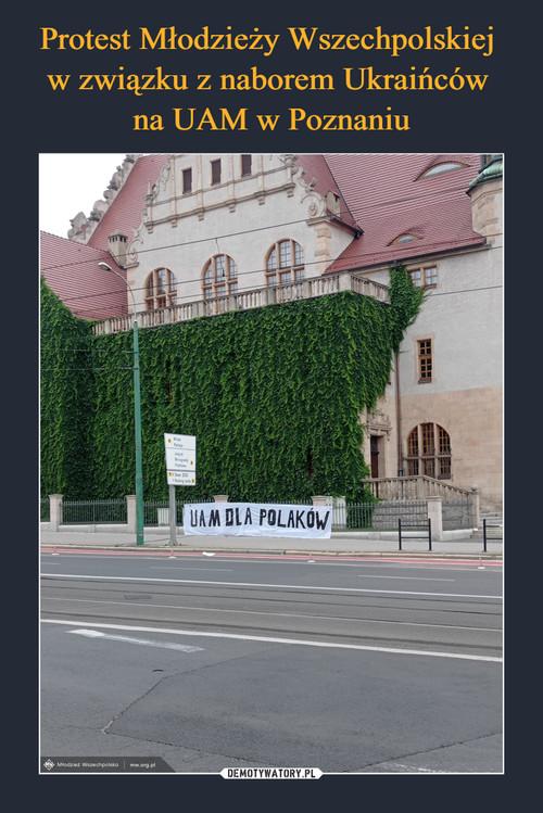Protest Młodzieży Wszechpolskiej  w związku z naborem Ukraińców  na UAM w Poznaniu